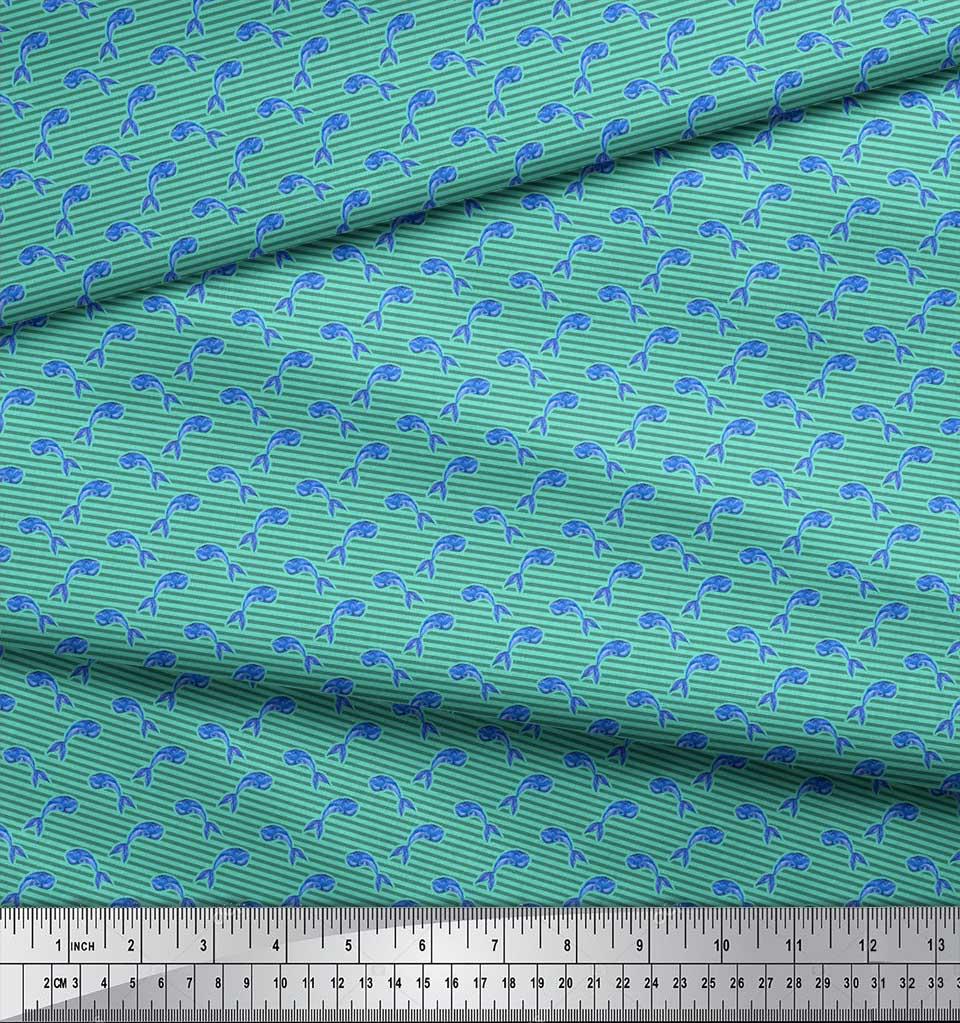 Soimoi-Green-Cotton-Poplin-Fabric-Stripes-amp-Whale-Fish-Ocean-Printed-rXV thumbnail 3