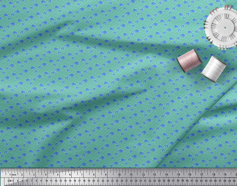 Soimoi-Green-Cotton-Poplin-Fabric-Stripes-amp-Whale-Fish-Ocean-Printed-rXV thumbnail 4