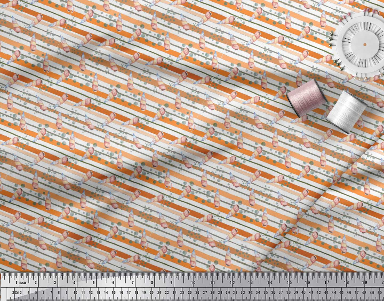 Soimoi-Orange-Cotton-Poplin-Fabric-Shells-Ocean-Fabric-Prints-By-Fxh thumbnail 3