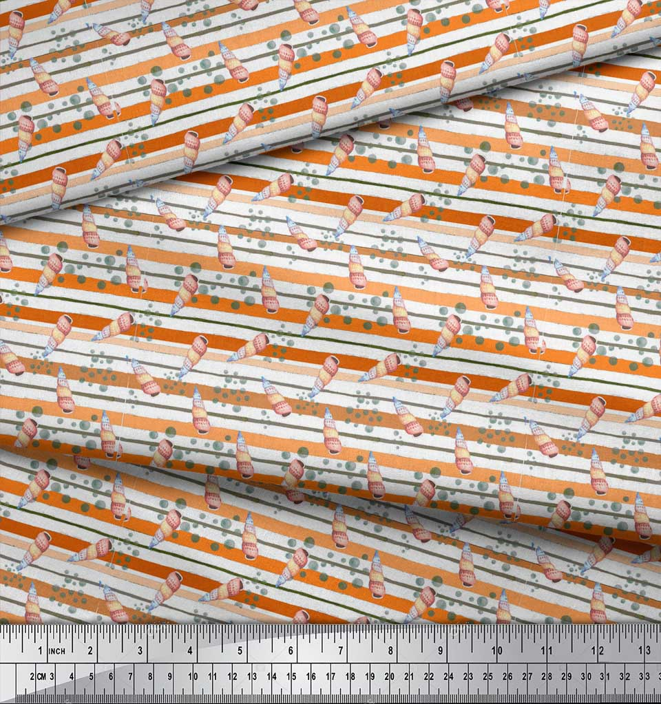 Soimoi-Orange-Cotton-Poplin-Fabric-Shells-Ocean-Fabric-Prints-By-Fxh thumbnail 4