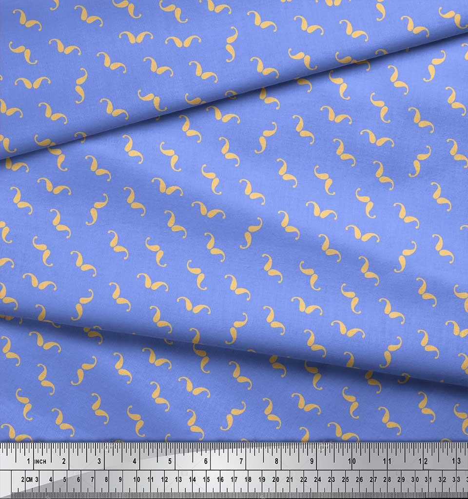 Soimoi-Blue-Cotton-Poplin-Fabric-Moustache-Paisley-Print-Fabric-amz thumbnail 3