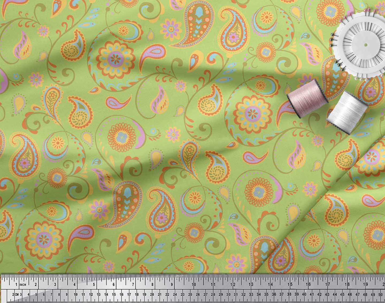 Soimoi-Green-Cotton-Poplin-Fabric-Mandala-amp-Paisley-Printed-Craft-KU9 thumbnail 3