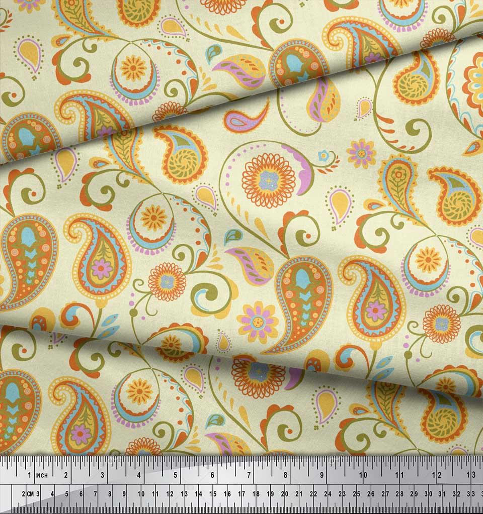 Soimoi-Yellow-Cotton-Poplin-Fabric-Mandala-amp-Paisley-Print-Sewing-Nr5 thumbnail 3