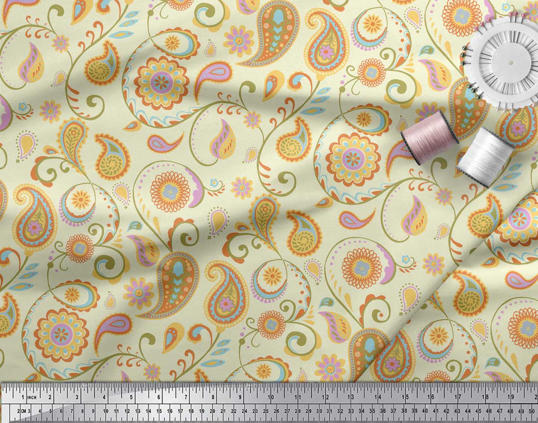 Soimoi-Yellow-Cotton-Poplin-Fabric-Mandala-amp-Paisley-Print-Sewing-Nr5 thumbnail 4