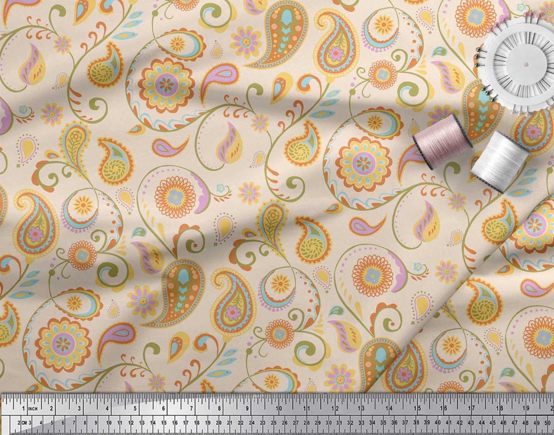 Soimoi-White-Cotton-Poplin-Fabric-Mandala-amp-Paisley-Print-Fabric-xLy thumbnail 3