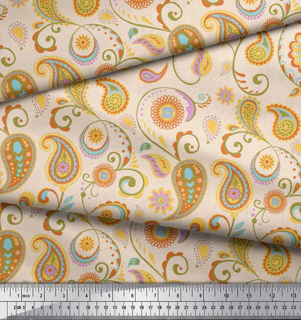 Soimoi-White-Cotton-Poplin-Fabric-Mandala-amp-Paisley-Print-Fabric-xLy thumbnail 4
