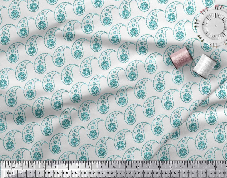Soimoi-Green-Cotton-Poplin-Fabric-Paisleys-Paisley-Printed-Fabric-Pwk thumbnail 3