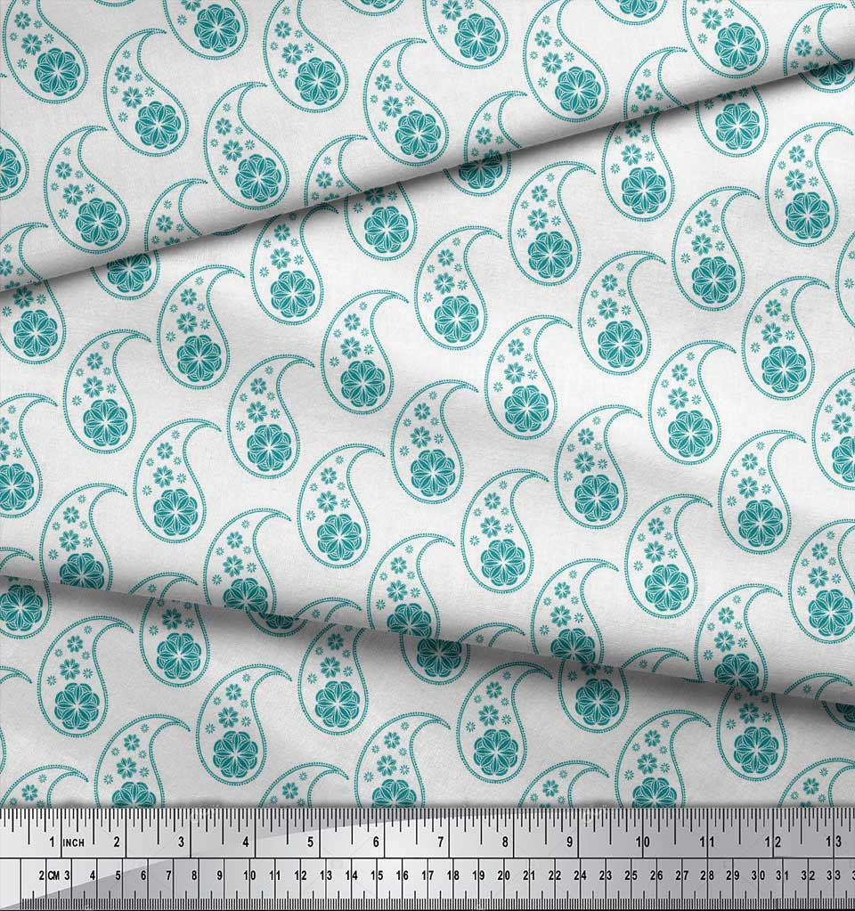 Soimoi-Green-Cotton-Poplin-Fabric-Paisleys-Paisley-Printed-Fabric-Pwk thumbnail 4