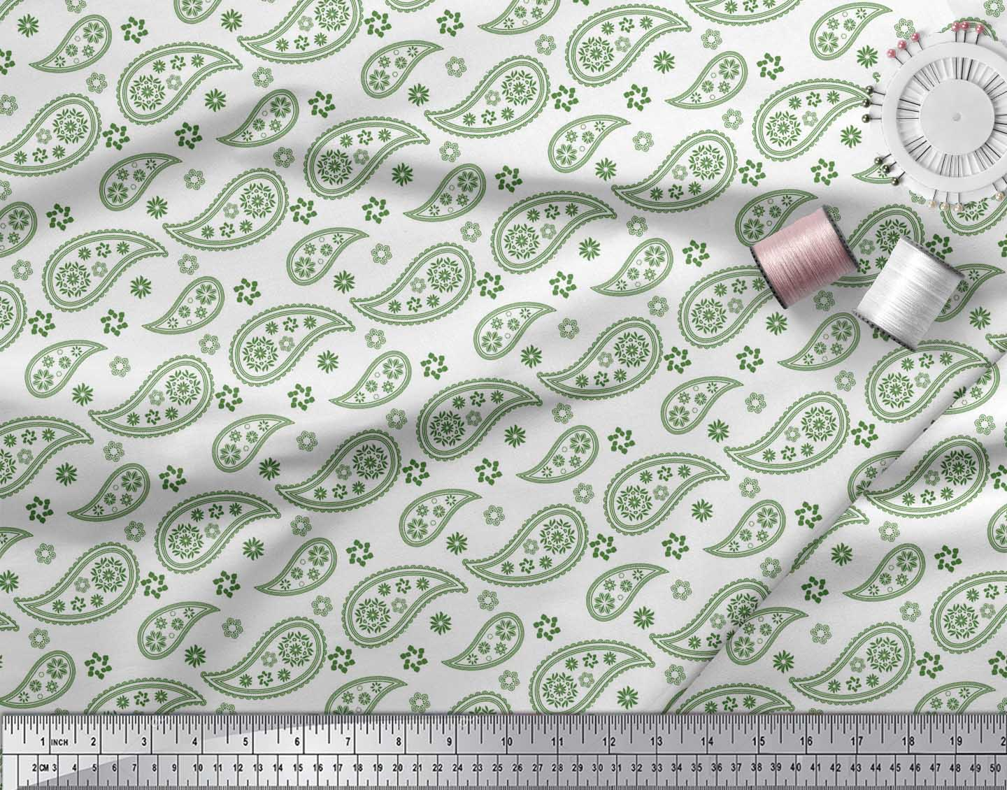 Soimoi-Green-Cotton-Poplin-Fabric-Paisleys-Paisley-Printed-Craft-6hk thumbnail 3