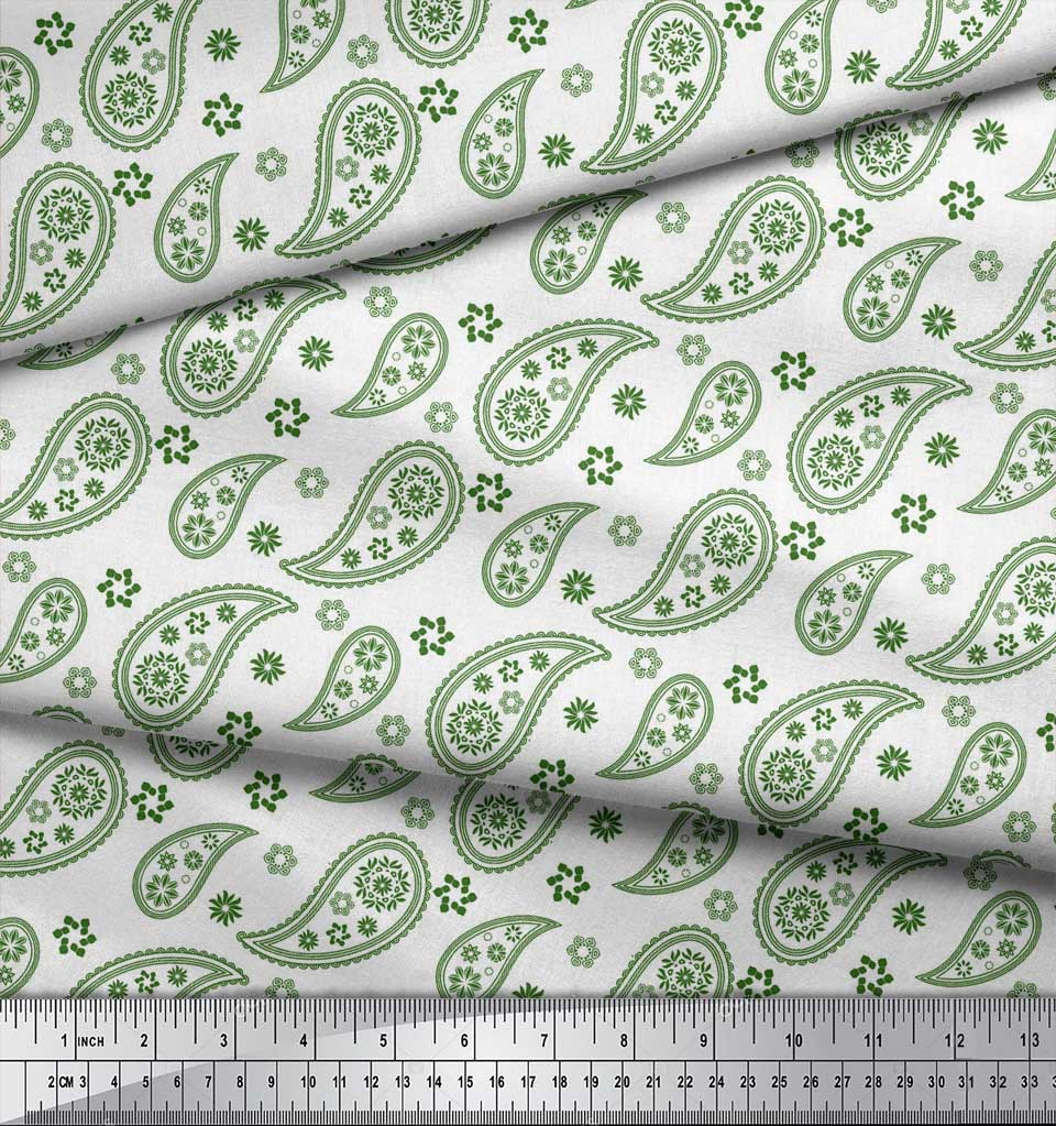 Soimoi-Green-Cotton-Poplin-Fabric-Paisleys-Paisley-Printed-Craft-6hk thumbnail 4