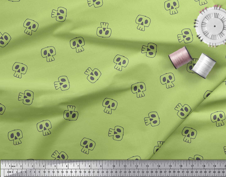Soimoi-Green-Cotton-Poplin-Fabric-Skull-Skull-Print-Fabric-by-the-iZm thumbnail 4