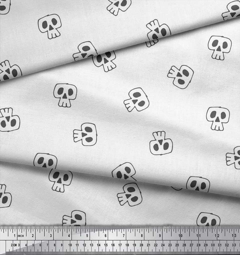 Soimoi-White-Cotton-Poplin-Fabric-Skull-Skull-Print-Fabric-by-the-tJy thumbnail 3