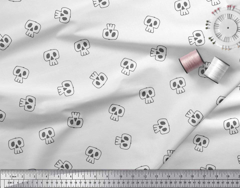 Soimoi-White-Cotton-Poplin-Fabric-Skull-Skull-Print-Fabric-by-the-tJy thumbnail 4