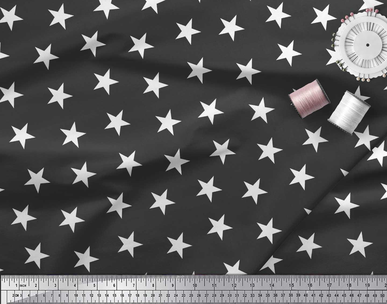 Soimoi-Black-Cotton-Poplin-Fabric-Stars-Star-Print-Fabric-by-the-rt0 thumbnail 3
