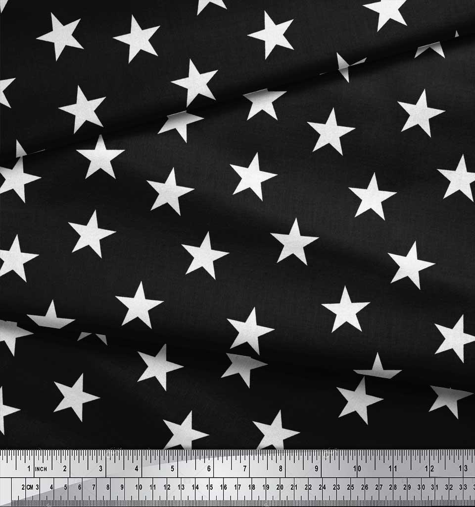 Soimoi-Black-Cotton-Poplin-Fabric-Stars-Star-Print-Fabric-by-the-rt0 thumbnail 4