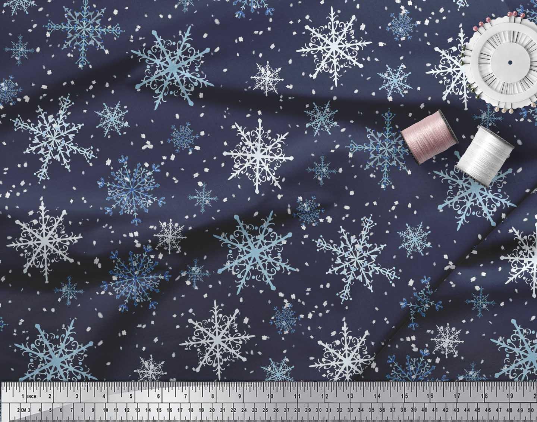 Soimoi-Blue-Cotton-Poplin-Fabric-Snow-Flakes-amp-Star-Fabric-Prints-J0N thumbnail 3