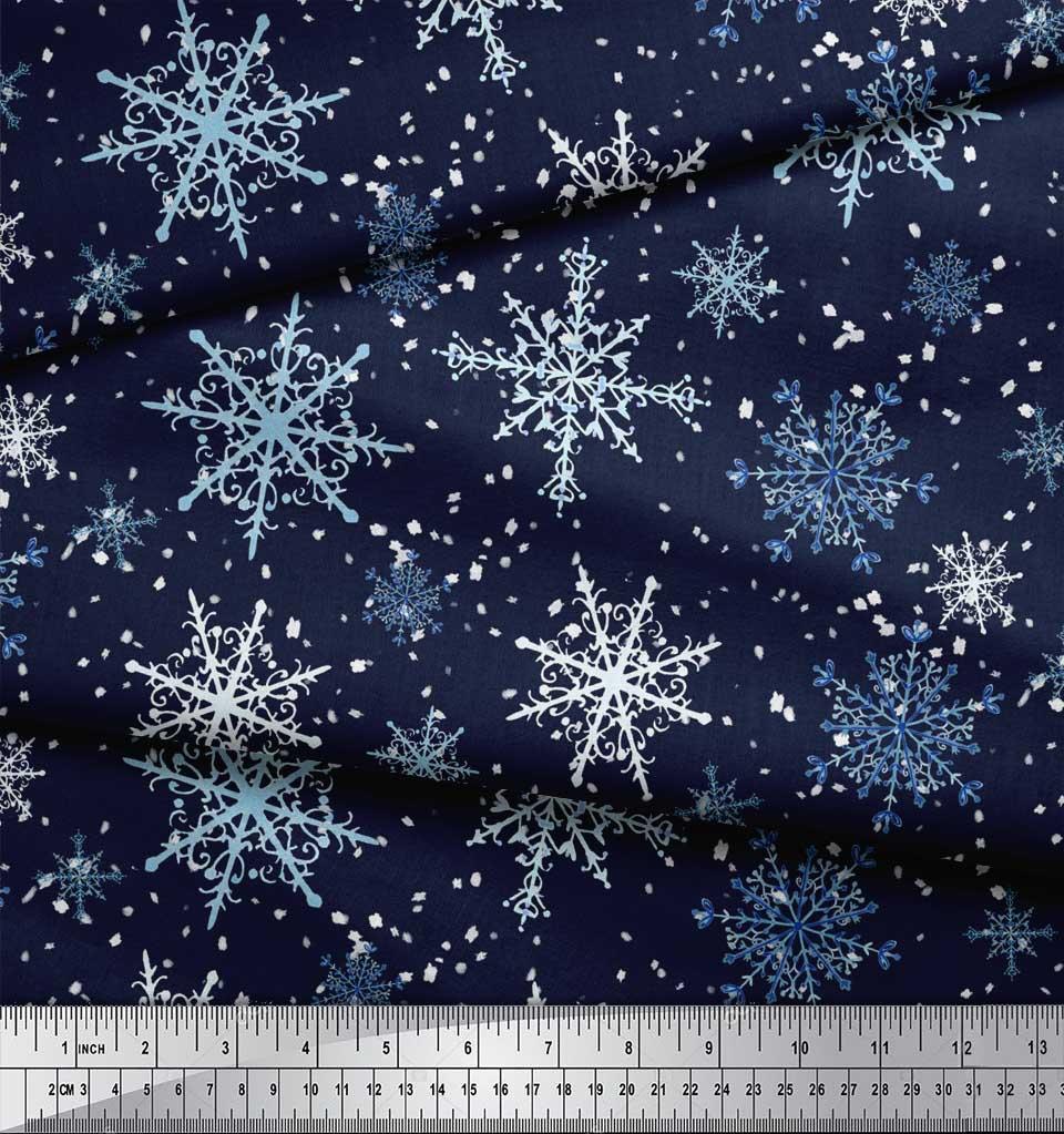 Soimoi-Blue-Cotton-Poplin-Fabric-Snow-Flakes-amp-Star-Fabric-Prints-J0N thumbnail 4