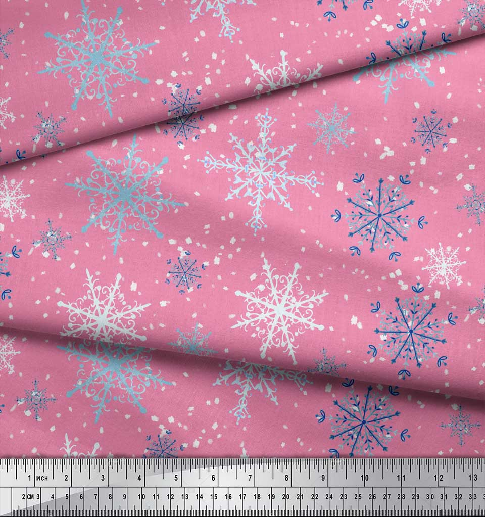 Soimoi-Pink-Cotton-Poplin-Fabric-Snow-Flakes-amp-Star-Printed-Craft-bzS thumbnail 3