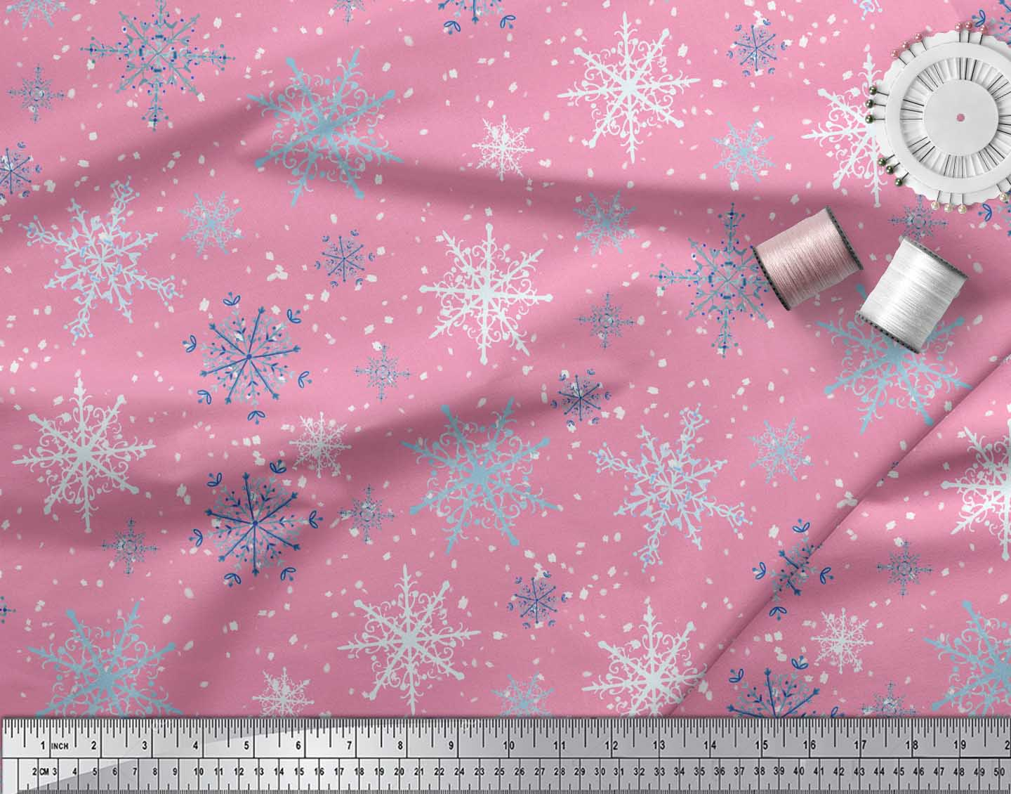 Soimoi-Pink-Cotton-Poplin-Fabric-Snow-Flakes-amp-Star-Printed-Craft-bzS thumbnail 4