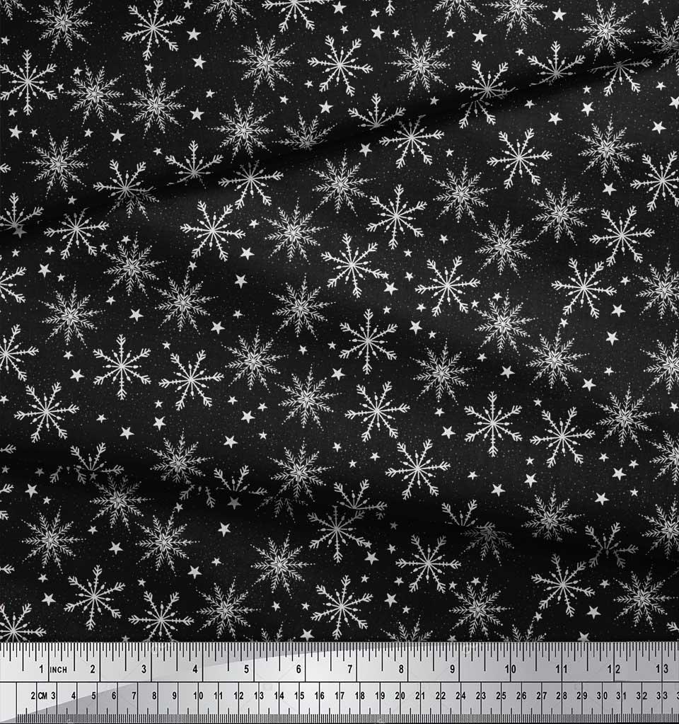 Soimoi-Black-Cotton-Poplin-Fabric-Snow-Flakes-amp-Star-Print-Fabric-Lbr thumbnail 3