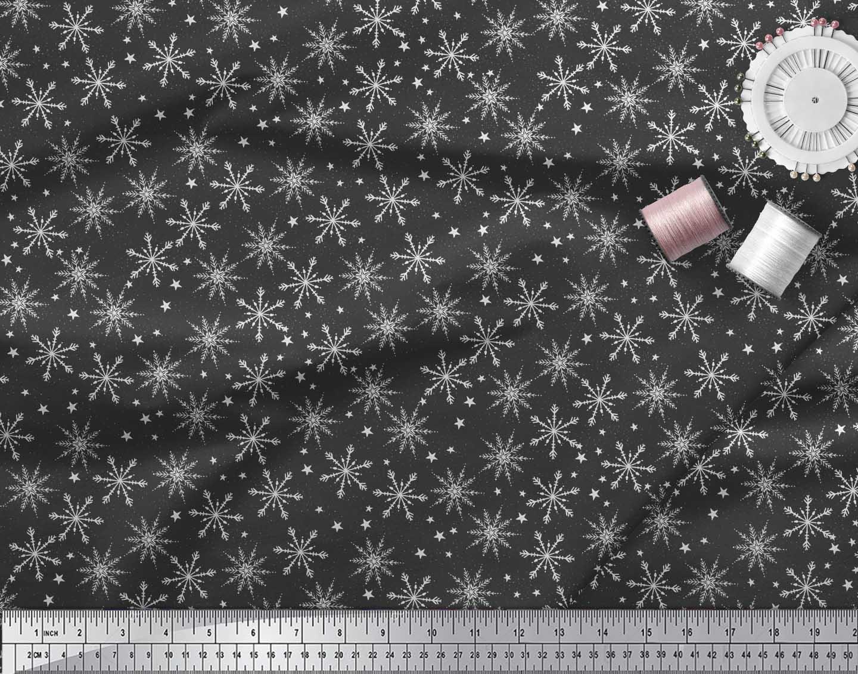 Soimoi-Black-Cotton-Poplin-Fabric-Snow-Flakes-amp-Star-Print-Fabric-Lbr thumbnail 4