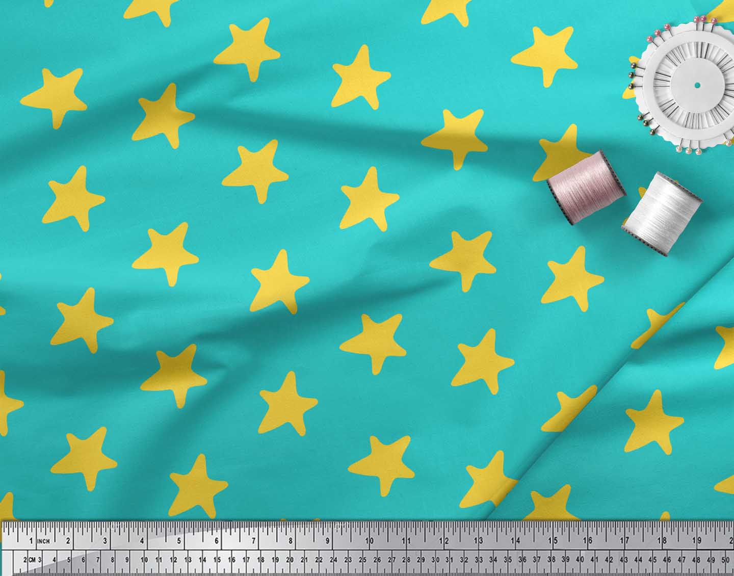 Soimoi-Green-Cotton-Poplin-Fabric-Stars-Star-Fabric-Prints-By-metre-OzA thumbnail 3