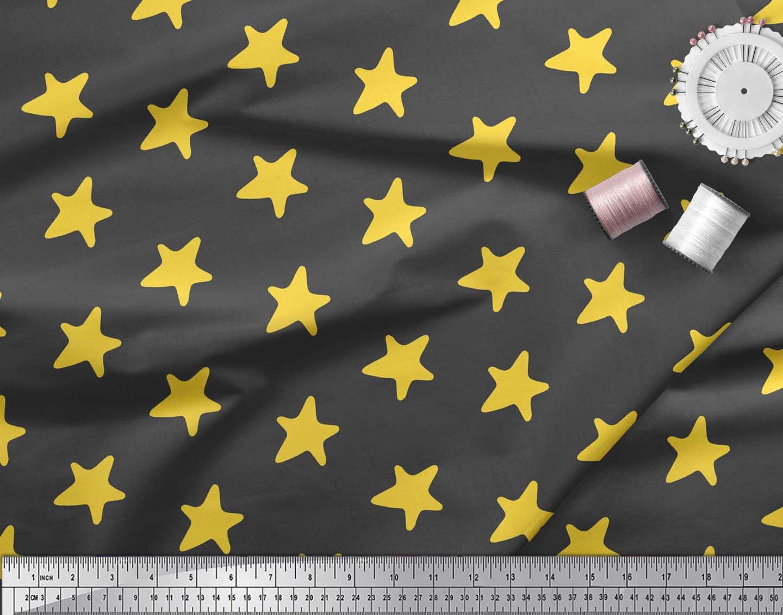Soimoi-Gray-Cotton-Poplin-Fabric-Stars-Star-Decor-Fabric-Printed-MHn thumbnail 3