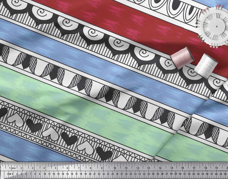 Soimoi-Blue-Cotton-Poplin-Fabric-Heart-Stripe-Printed-Fabric-1-metre-QPU thumbnail 3