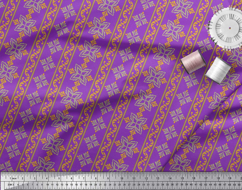 Soimoi-Purple-Cotton-Poplin-Fabric-Floral-amp-Stripe-Print-Fabric-eZW thumbnail 3