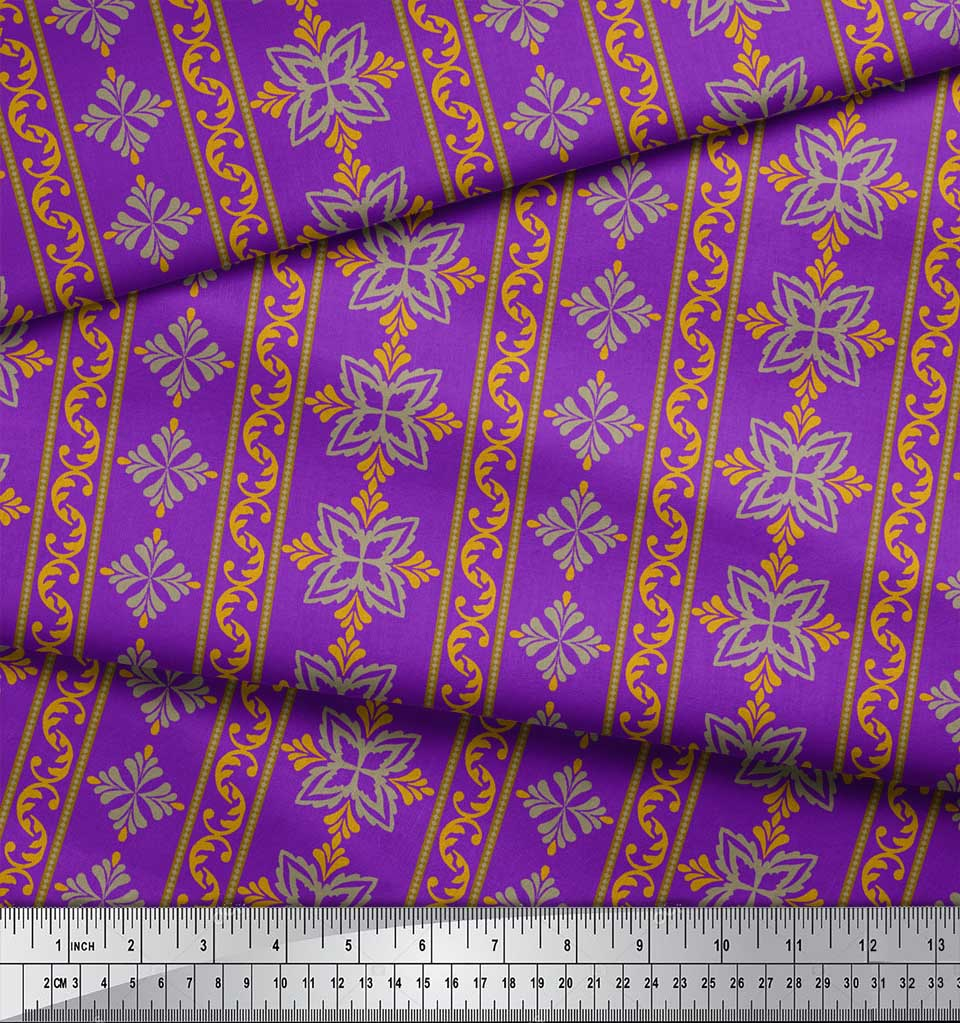 Soimoi-Purple-Cotton-Poplin-Fabric-Floral-amp-Stripe-Print-Fabric-eZW thumbnail 4