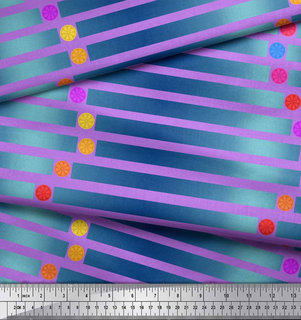 Soimoi-Purple-Cotton-Poplin-Fabric-Floral-Dot-amp-Stripe-Print-Fabric-YPj thumbnail 3