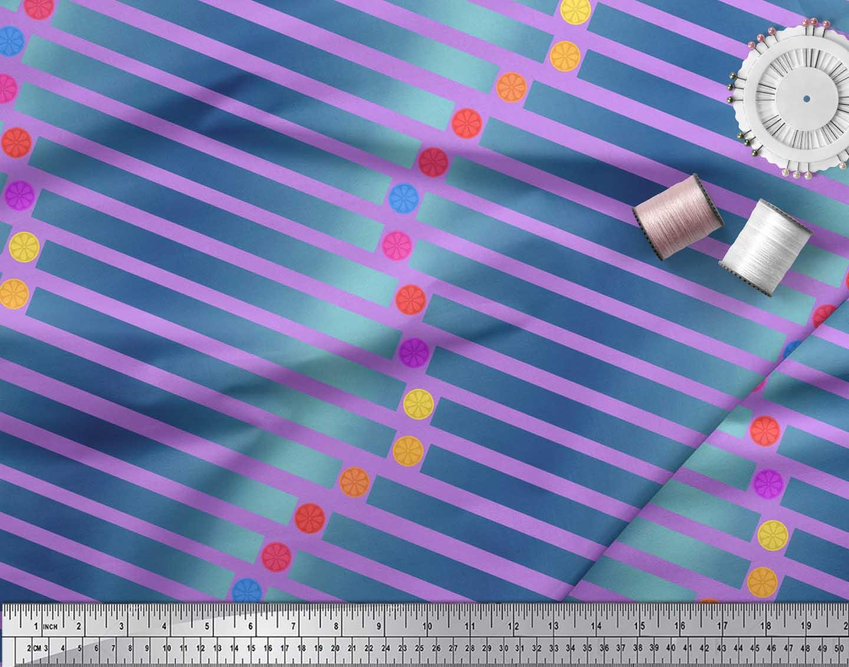 Soimoi-Purple-Cotton-Poplin-Fabric-Floral-Dot-amp-Stripe-Print-Fabric-YPj thumbnail 4