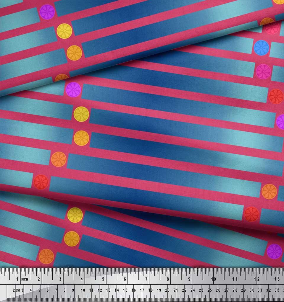 Soimoi-Pink-Cotton-Poplin-Fabric-Floral-Dot-amp-Stripe-Print-Fabric-bV3 thumbnail 3