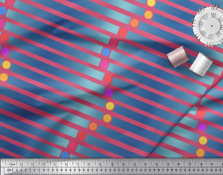 Soimoi-Pink-Cotton-Poplin-Fabric-Floral-Dot-amp-Stripe-Print-Fabric-bV3 thumbnail 4