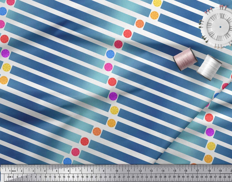 Soimoi-White-Cotton-Poplin-Fabric-Floral-Dot-amp-Stripe-Decor-Fabric-2uz thumbnail 3