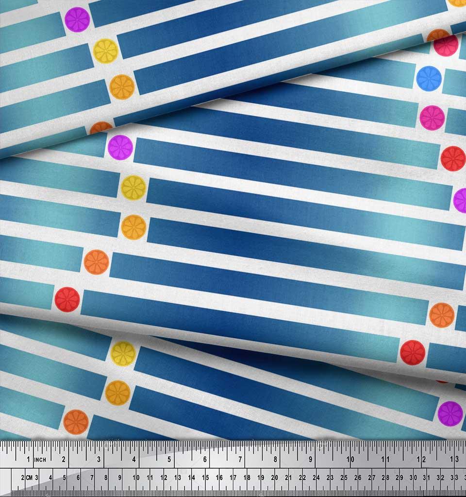 Soimoi-White-Cotton-Poplin-Fabric-Floral-Dot-amp-Stripe-Decor-Fabric-2uz thumbnail 4