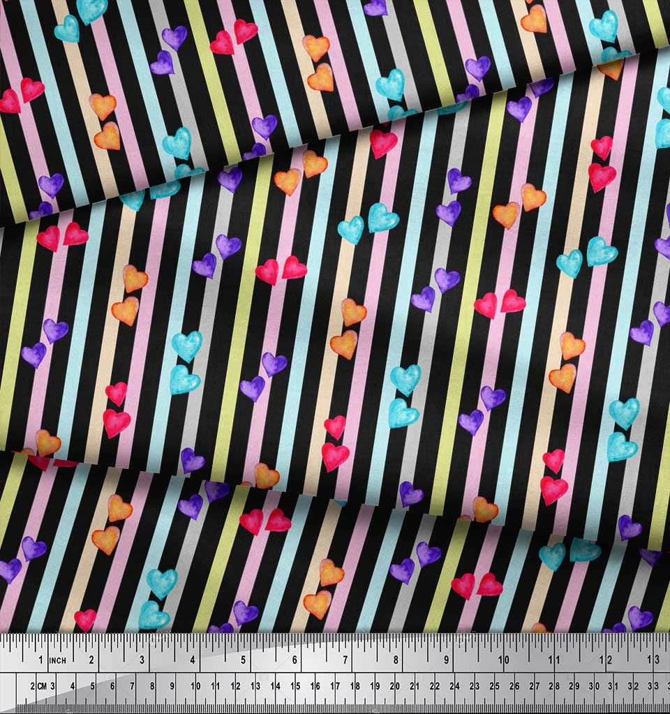 Soimoi-Black-Cotton-Poplin-Fabric-Heart-Stripe-Decor-Fabric-Printed-KvO thumbnail 3
