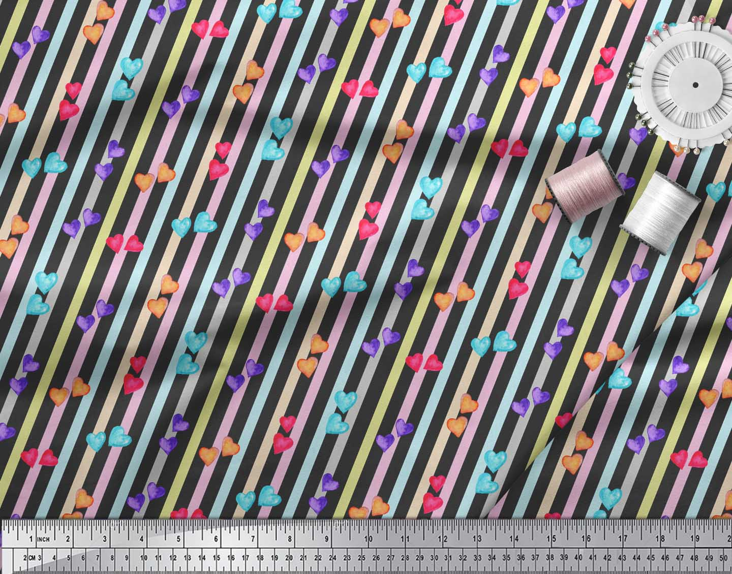 Soimoi-Black-Cotton-Poplin-Fabric-Heart-Stripe-Decor-Fabric-Printed-KvO thumbnail 4