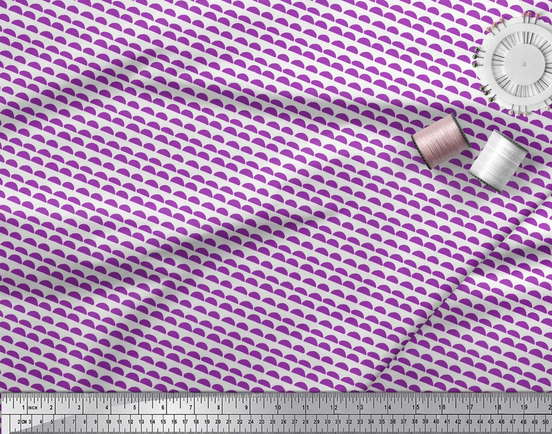 Soimoi-Purple-Cotton-Poplin-Fabric-Semi-Circle-With-Stripe-Print-MUQ thumbnail 3