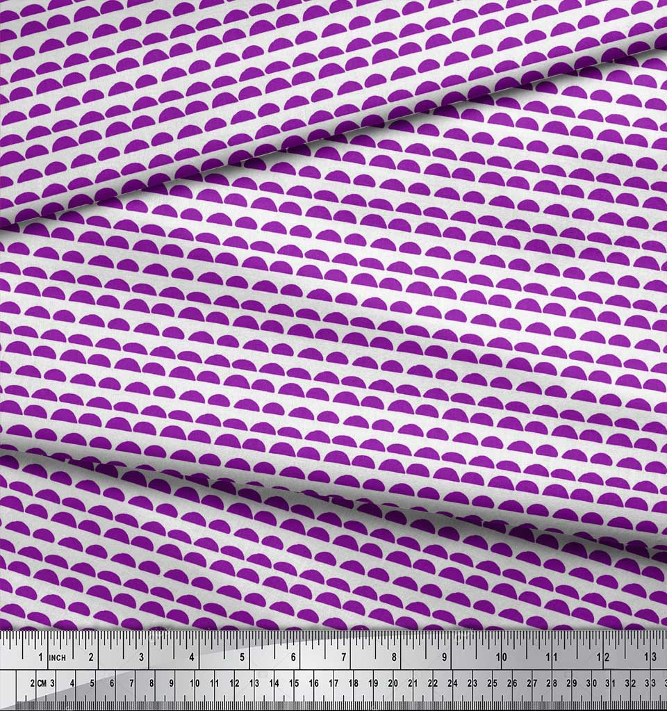Soimoi-Purple-Cotton-Poplin-Fabric-Semi-Circle-With-Stripe-Print-MUQ thumbnail 4