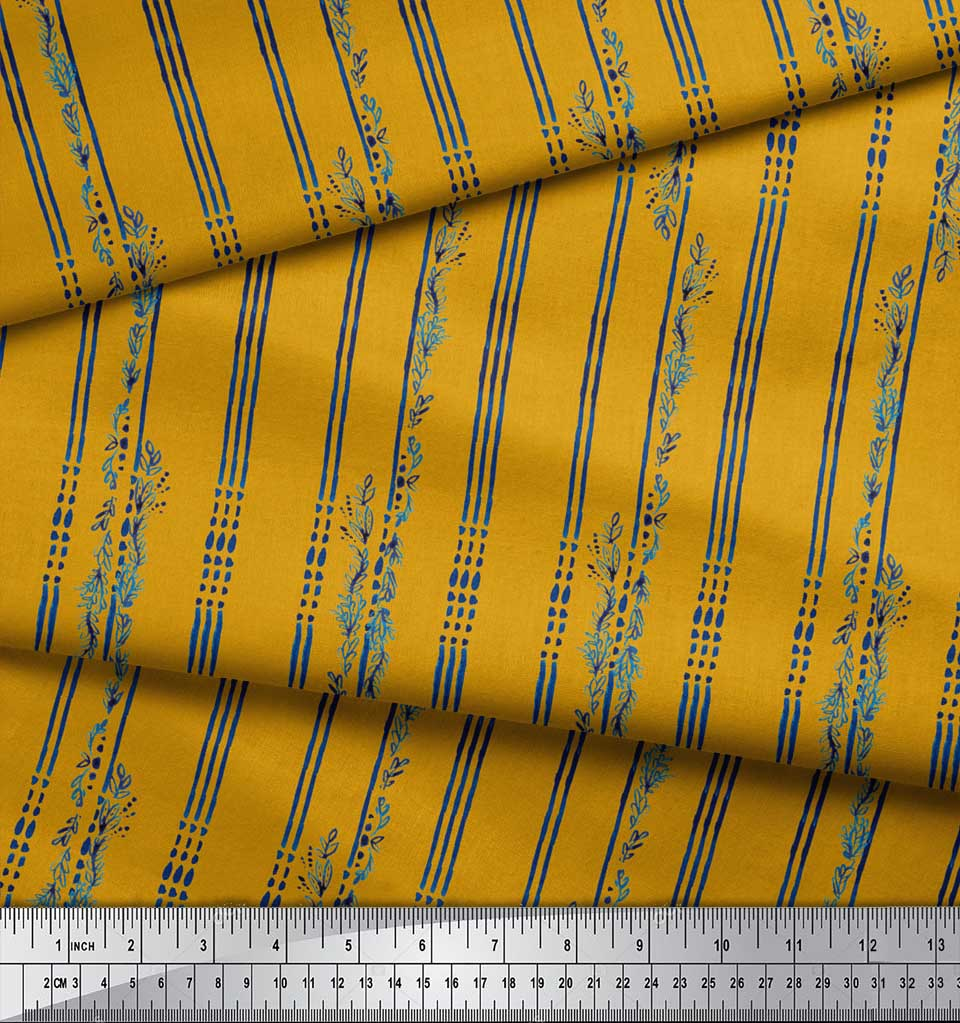 Soimoi-Gold-Cotton-Poplin-Fabric-Leaves-amp-Stripe-Print-Fabric-by-XJQ thumbnail 3