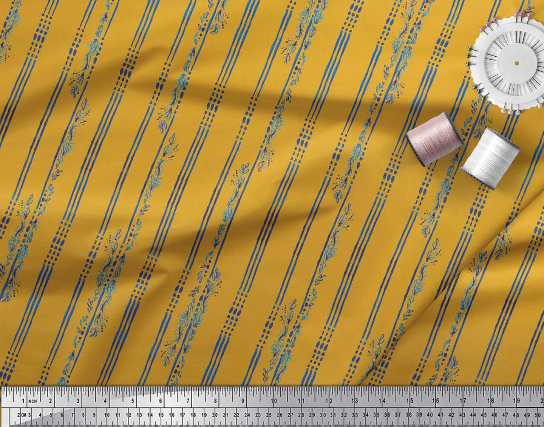 Soimoi-Gold-Cotton-Poplin-Fabric-Leaves-amp-Stripe-Print-Fabric-by-XJQ thumbnail 4