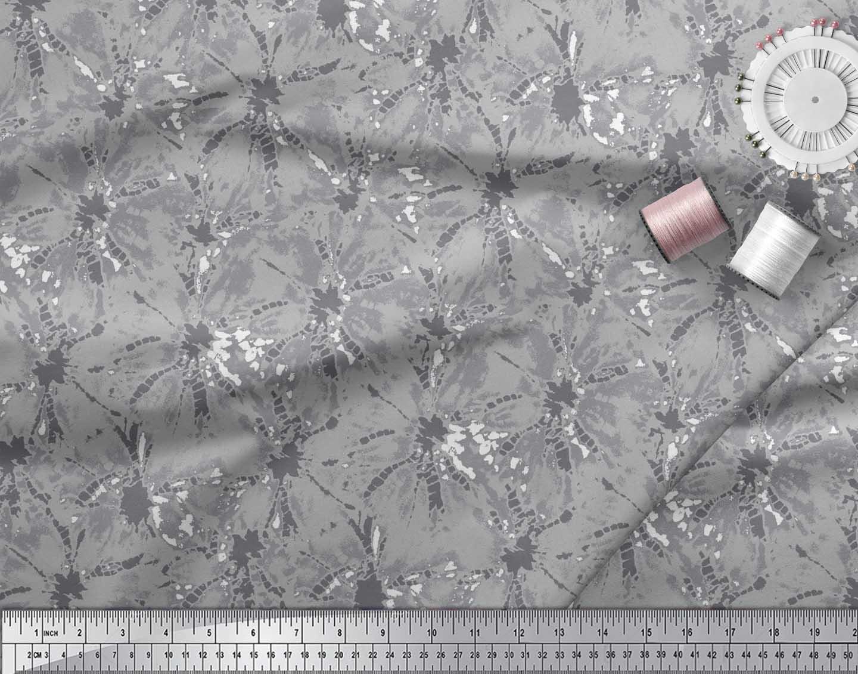 Soimoi-Gray-Cotton-Poplin-Fabric-Batik-Tie-Dye-Print-Fabric-by-the-dRy thumbnail 3
