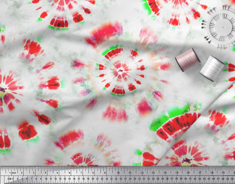 Soimoi-Orange-Cotton-Poplin-Fabric-Bandhani-Tie-Dye-Printed-Fabric-zqZ thumbnail 3