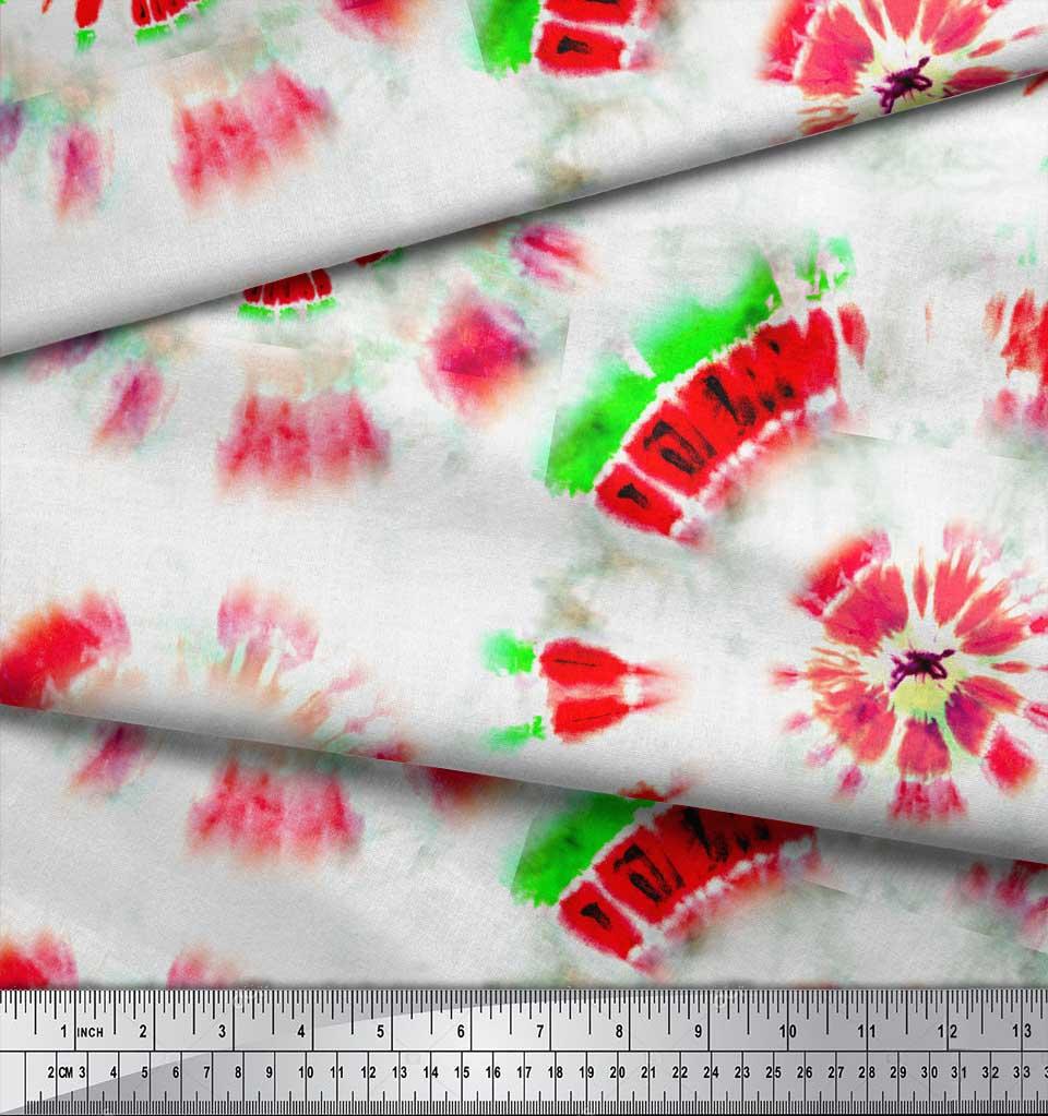 Soimoi-Orange-Cotton-Poplin-Fabric-Bandhani-Tie-Dye-Printed-Fabric-zqZ thumbnail 4