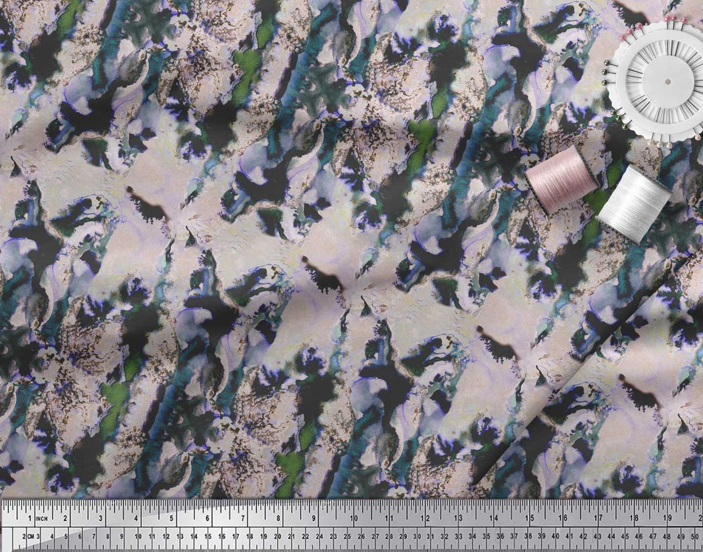 Soimoi-Green-Cotton-Poplin-Fabric-Abstract-Tie-Dye-Print-Fabric-8hF thumbnail 3