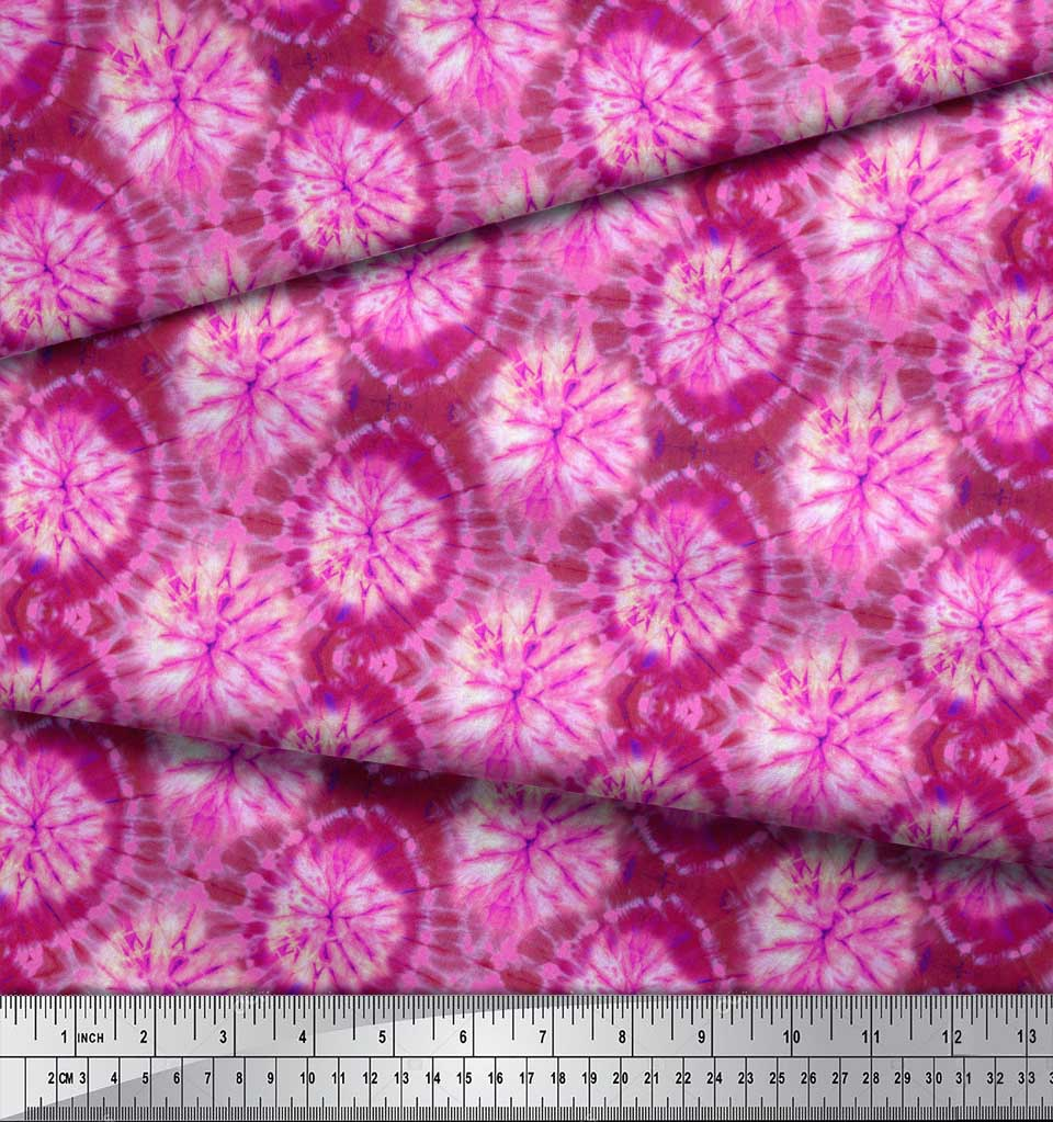 Soimoi-Pink-Cotton-Poplin-Fabric-Ombre-Tie-Dye-Print-Fabric-by-the-kdM thumbnail 4