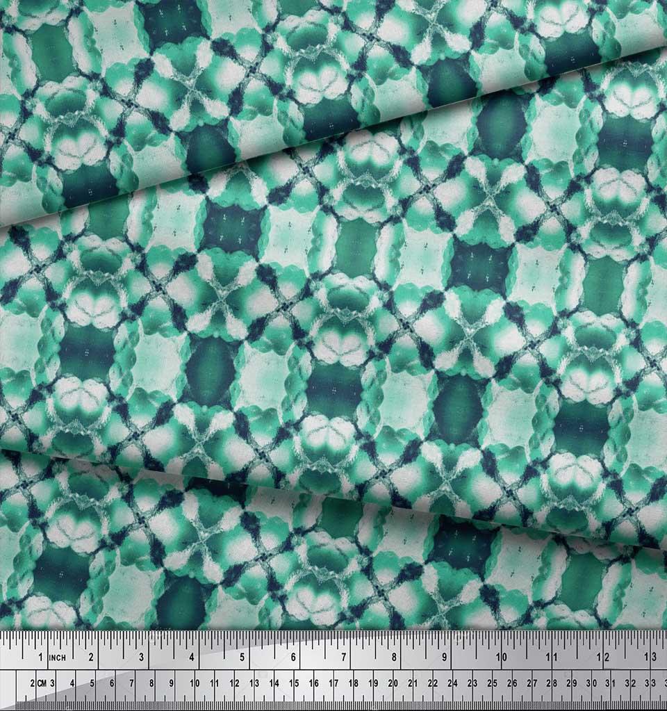 Soimoi-Green-Cotton-Poplin-Fabric-Mosaic-Tie-Dye-Print-Fabric-by-9ka thumbnail 3