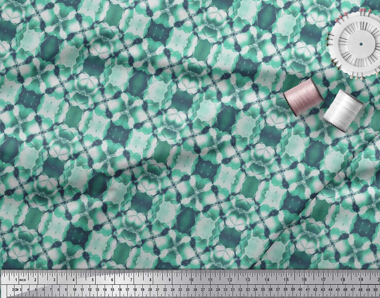 Soimoi-Green-Cotton-Poplin-Fabric-Mosaic-Tie-Dye-Print-Fabric-by-9ka thumbnail 4
