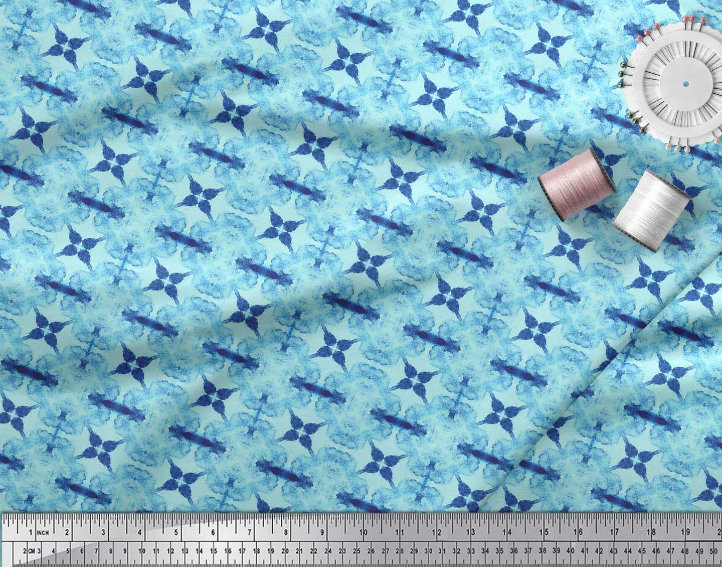 Soimoi-Blue-Cotton-Poplin-Fabric-Floral-Tie-Dye-Print-Fabric-by-pRn thumbnail 3